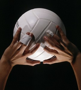 volleyball in hands